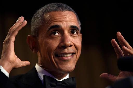 President Barack Obama speaks at the annual White House Correspondents' Association dinner.