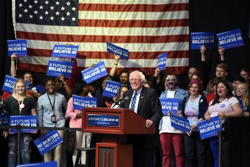 Democratic presidential hopeful Bernie Sanders speaks to a crowd at the Old National Events Plaza during a rally in Evansville, Ind., Monday, May 2, 2016.