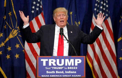 Republican presidential candidate Donald Trump speaks during a campaign stop Monday, May 2, 2016, in South Bend, Ind.