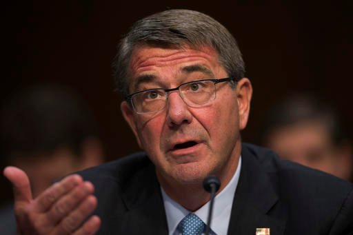 In this April 28, 2016 file photo, Defense Secretary Ash Carter testifies on Capitol Hill in Washington. The NATO alliance is considering establishing a rotational ground force in the Baltic states and possibly Poland, reflecting deepening worry about Ru