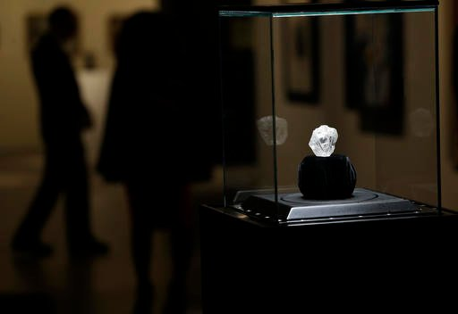 A large diamond is displayed at Sotheby's in New York, Wednesday, May 4, 2016.
