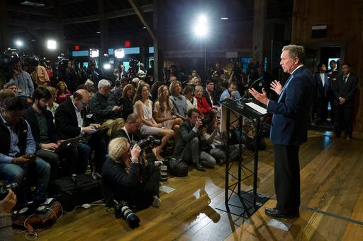 Republican presidential candidate Ohio Gov. John Kasich speaks at The Franklin Park Conservatory & Botanical Gardens, Wednesday, May 4, 2016, in Columbus. Ohio. Kasich announced the end of his White House bid. (AP Photo/John Minchillo)