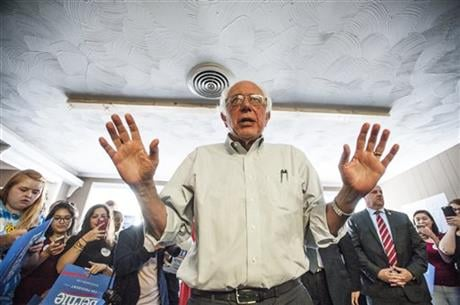 Democratic presidential candidate, Sen. Bernie Sanders, I-Vt., speaks to his campaign volunteers at the local headquarters on Wednesday, May 4, 2016, in Bowling Green, Ky. (Miranda Pederson/Daily News via AP)