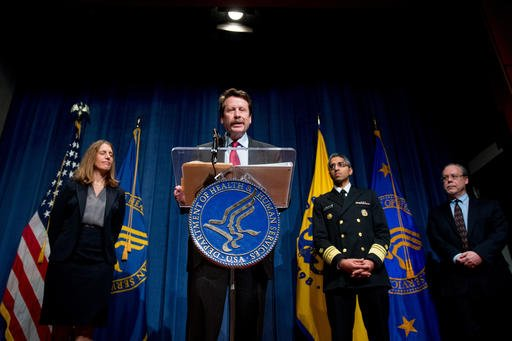 Food and Drug Administration (FDA) Commissioner Dr. Robert Califf, center, accompanied by, from left, Health and Human Services Secretary Sylvia Burwell, US Surgeon General Dr. Vivek Murthy, and FDA Center for Tobacco Products Director Mitch Zeller.