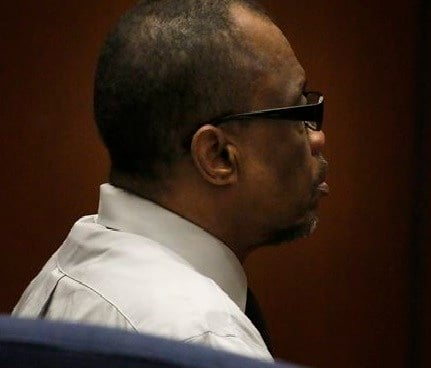 """Lonnie Franklin Jr. sits in count in Los Angeles, Thursday, May 5, 2016. The former trash collector in Los Angeles was convicted Thursday of 10 """"Grim Sleeper"""" serial killings that spanned two decades and targeted vulnerable young black women in the inner"""