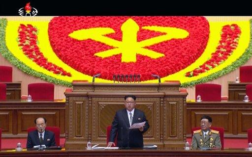 North Korean leader Kim Jong Un addresses the congress in Pyongyang, North Korea, Friday May 6, 2016.