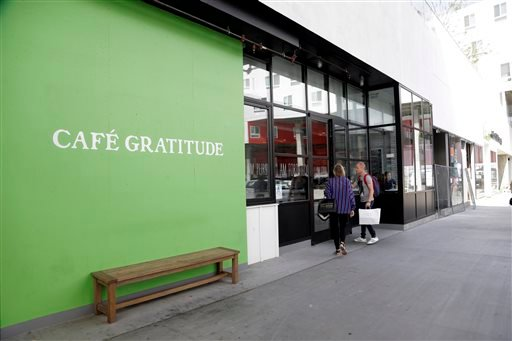 This Wednesday, May 4, 2016 photo shows Cafe Gratitude restaurant in Los Angeles.