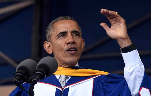 President Barack Obama gives his commencement address to the 2016 graduating class of Howard University in Washington, Saturday, May 7, 2016.