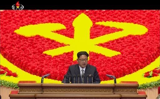 In this image made from video by North Korean broadcaster KRT, North Korean leader Kim Jong Un speaks at the party congress in Pyongyang, North Korea, Saturday, May 7, 2016. North Korea will not use its nuclear weapons first unless its sovereignty is inva