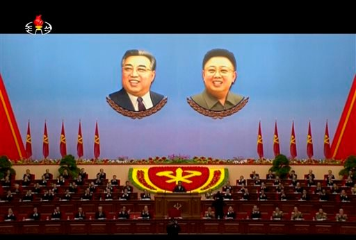 In this image made from video by North Korean broadcaster KRT, North Korean leader Kim Jong Un, center, speaks at the party congress in Pyongyang, North Korea, Saturday, May 7, 2016. North Korea will not use its nuclear weapons first unless its sovereignt