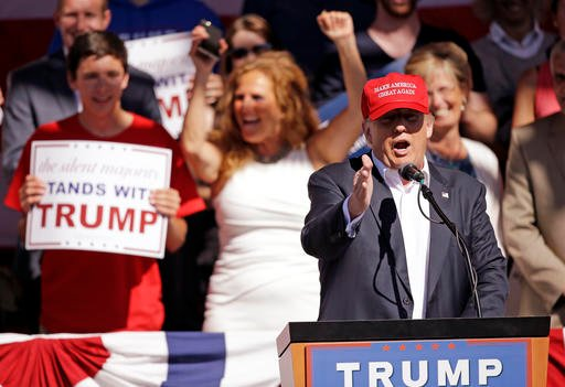 Republican presidential candidate Donald Trump speaks at a rally Saturday, May 7, 2016, in Lynden, Wash. (AP Photo/Elaine Thompson)