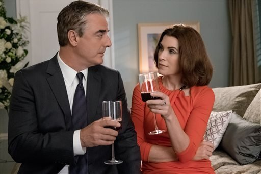 "In this image released by CBS, Chris Noth portrays Peter Florrick, left, and Julianna Margulies portrays Alicia Florrick in a scene from ""The Good Wife."""