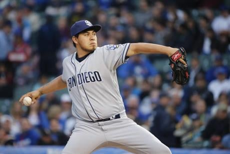 San Diego Padres starting pitcher Cesar Vargas delivers during the first inning of a baseball game against the Chicago Cubs on Tuesday, May 10, 2016, in Chicago. (AP Photo/Charles Rex Arbogast)