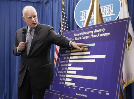 Brown proposed a $122.2 billion spending plan for California, down slightly from his January proposal as tax revenues are expected to fall below expectations. (AP Photo/Rich Pedroncelli)