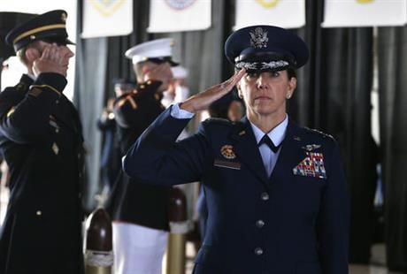 Gen. Robinson is the first woman to lead a top-tier U.S. military command after taking charge Friday at NORAD and USNORTHCOM. (AP Photo/Brennan Linsley)