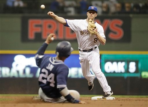 San Diego Padres' Jon Jay (24) is out at second as Milwaukee Brewers' Aaron Hill turns a double play on a ball hit by Alexei Ramirez during the third inning of a baseball game Friday, May 13, 2016, in Milwaukee.