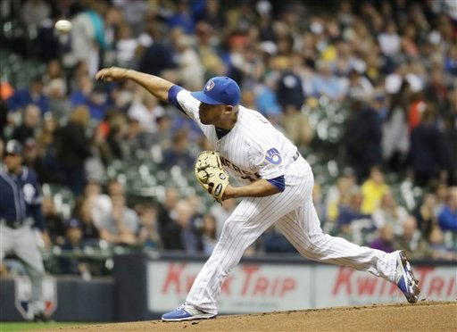 Milwaukee Brewers starting pitcher Junior Guerra throws during the first inning of a baseball game against the San Diego Padres Friday, May 13, 2016, in Milwaukee.