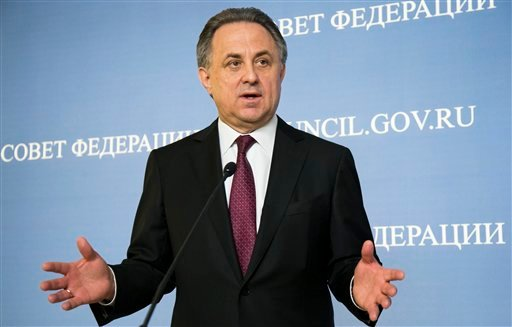 In this file photo taken on Wednesday, April 20, 2016, Russia's Sports Minister Vitaly Mutko gestures while speaking during his and FIFA President Gianni Infantino news conference after their addressed the upper chamber of the Russian parliament in Moscow