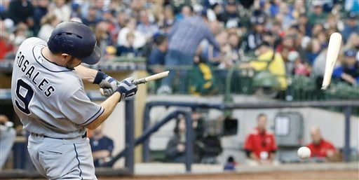 San Diego Padres' Adam Rosales breaks his bat as he fouls off a pitch during the fifth inning of a baseball game against the Milwaukee Brewers Sunday, May 15, 2016, in Milwaukee. (AP Photo/Morry Gash)