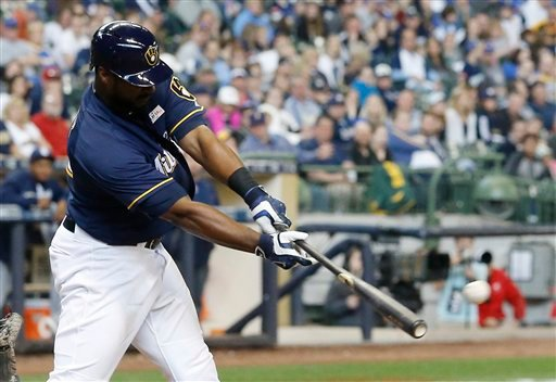 on   Milwaukee Brewers' Chris Carter hits an RBI double during the seventh inning of a baseball game against the San Diego Padres Sunday, May 15, 2016, in Milwaukee. (AP Photo/Morry Gash)