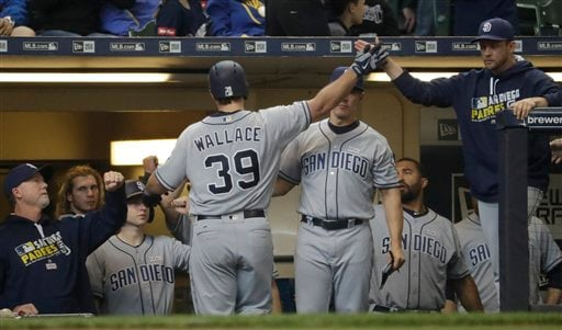 San Diego Padres' Brett Wallace is congratulated after hitting a home run during the seventh inning of a baseball game against the Milwaukee Brewers Sunday, May 15, 2016, in Milwaukee. (AP Photo/Morry Gash)