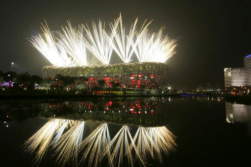In this Aug. 8, 2008 file photo fireworks explode during the opening ceremony in the National Stadium at the Beijing 2008 Olympics in Beijing.