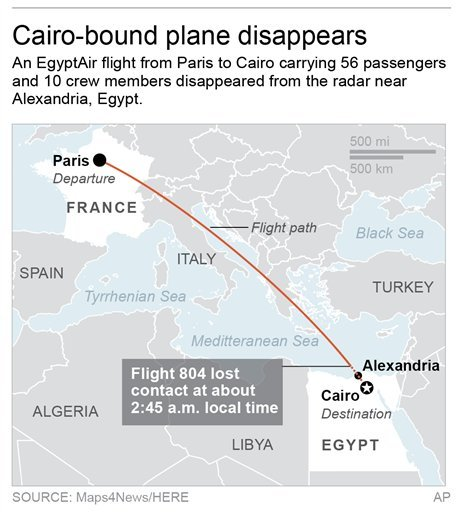 Map locates EgyptAir Flight 804's flight path and approximate location of disappearance