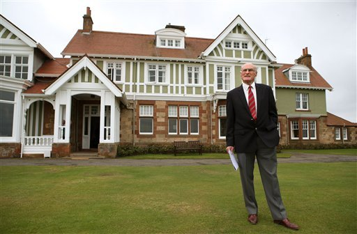 Captain of Muirfield Golf Club, Henry Fairweather stands in front of Muirfield golf club clubhouse, as he prepares to make an announcement on the outcome of a membership ballot, against admitting women as club members, in Muirfield, Scotland.
