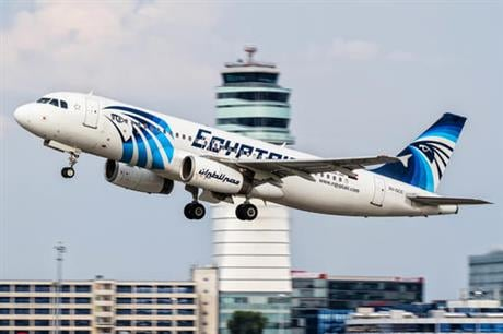 This August 21, 2015 photo shows an EgyptAir Airbus A320 with the registration SU-GCC taking off from Vienna International Airport, Austria.  (AP Photo/Thomas Ranner)