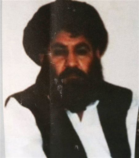 In this Saturday, Aug. 1, 2015 file photo, shows Taliban leader Mullah Mansour. The U.S. conducted an airstrike Saturday, May 21, 2016, against the Taliban leader the Pentagon said, and a U.S. official said Mansour was believed to have been killed. Penta