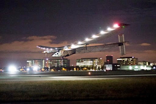 In this April 23, 2016 file photo, Solar Impulse 2 lands at Moffett Field in Mountain View, Calif., completing the leg of its journey from Hawaii in its attempt to circumnavigate the globe. A solar-powered airplane that landed in Oklahoma last week is hea