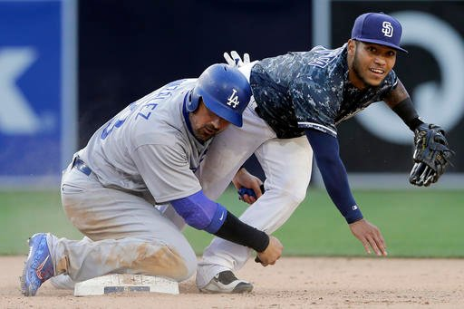 San Diego Padres second baseman Alexi Amarista, right, throws too late for the double play as Los Angeles Dodgers' Adrian Gonzalez slides in too late to second base during the fifteenth inning of a baseball game Sunday, May 22, 2016, in San Diego. (AP Pho