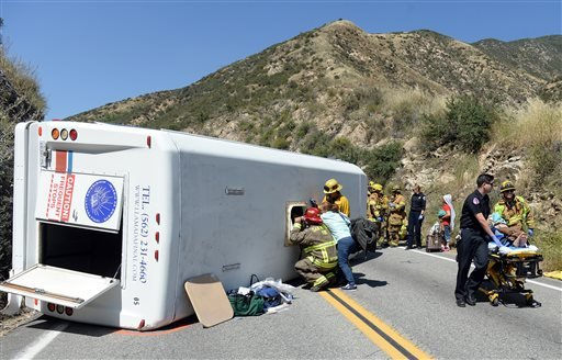 Approximately 20 people were injured, 4 with major injuries, after a small tour bus crashed and rolled over on highway 330 approximately 2 miles north of the 210 freeway Sunday, May 22, 2016. Both directions of the 330 are currently closed. Cause of the c