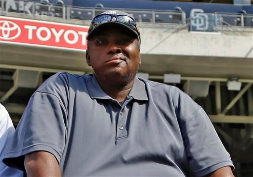 In this June 11, 2013 file photo, Hall of Famer Tony Gwynn watches batting practice during warmups prior to a baseball game between the San Diego Padres and the Atlanta Braves in San Diego.