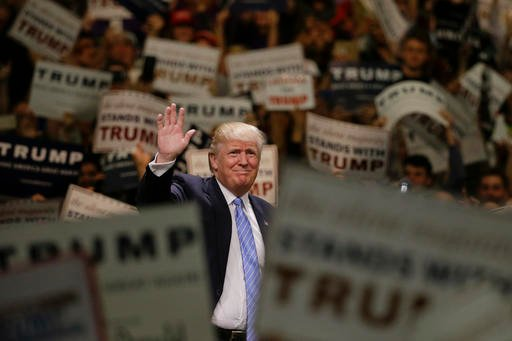 In this April 28, 2016 file photo, Republican presidential candidate Donald Trump speaks during a rally in Costa Mesa, Calif.