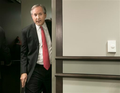 Republican Texas Attorney General Ken Paxton arrives at a press conference where he announced Texas' lawsuit to challenge President Obama's transgender bathroom order in Austin, Texas, Wednesday May 25, 2016. Texas and several other states are suing the O