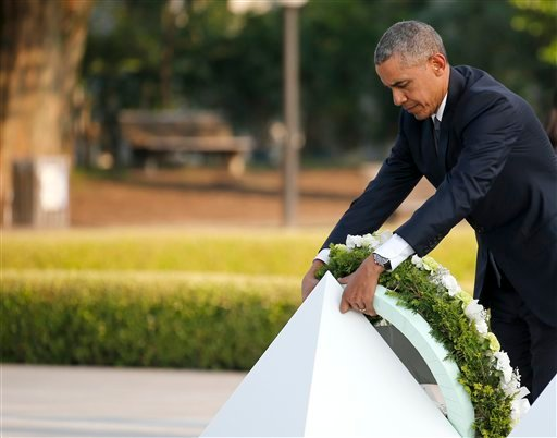 U.S. President Barack Obama lays a wreath at Hiroshima Peace Memorial Park in Hiroshima, western, Japan, Friday, May 27, 2016.