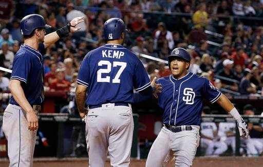San Diego Padres' Yangervis Solarte, right, celebrates his three-run home run against the Arizona Diamondbacks with Matt Kemp (27) and Wil Myers, left, during the sixth inning of a baseball game Friday, May 27, 2016, in Phoenix.