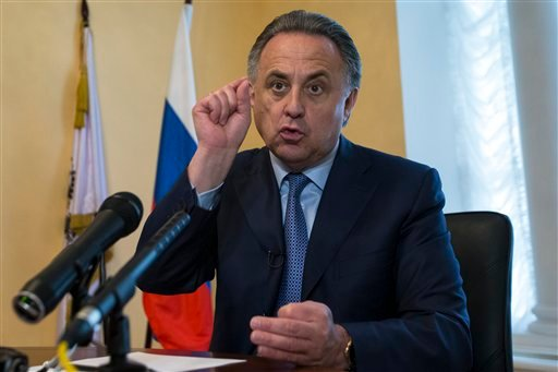 Russia's Sports Minister Vilaty Mutko gestures as he answers a journalist's questions, after their press tour of its anti doping laboratory in Moscow, Russia, Tuesday, May 24, 2016.