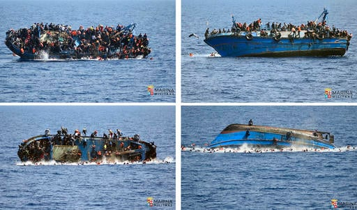 In this May 25, 2016 file combo made with pictures made available the the Italian Navy, people try to jump in the water right before their boat overturns off the Libyan coast. Over 700 migrants are feared dead in three Mediterranean Sea shipwrecks south o