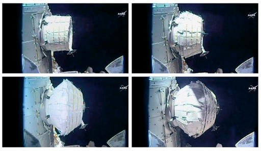 This combination of images provided by NASA shows the inflation of a new experimental room at the International Space Station on Saturday, May 28, 2016. Saturday was NASA's second shot at inflating the Bigelow Expandable Activity Module (BEAM), named for