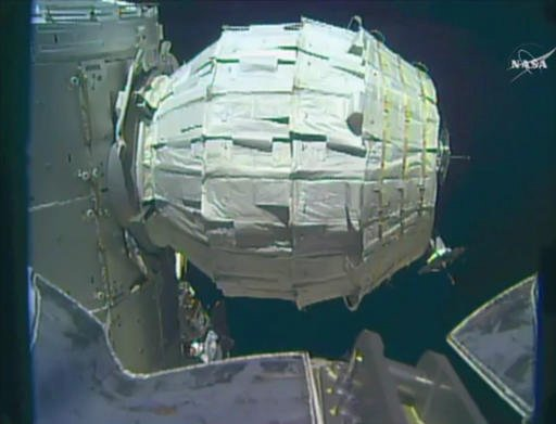 This image made from video provided by NASA shows the inflation of a new experimental room at the International Space Station on Saturday, May 28, 2016. Saturday was NASA's second shot at inflating the Bigelow Expandable Activity Module (BEAM), named for