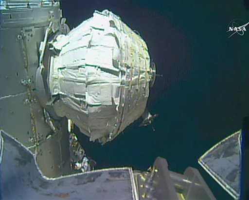 In this image provided by NASA, the Bigelow Expandable Activity Module, or BEAM, continues to be inflated, Saturday, May 28, 2016. NASA slowly inflated the new experimental room at the International Space Station on Saturday, with better luck than the fir