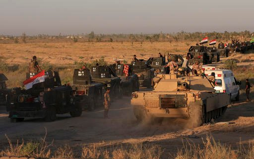 Iraqi military forces prepare for an offensive into Fallujah to retake the city from Islamic State militants in Iraq, Monday, May 30, 2016. An Iraqi special forces commander says Iraqi forces have started pushing into Fallujah as part of the ongoing opera