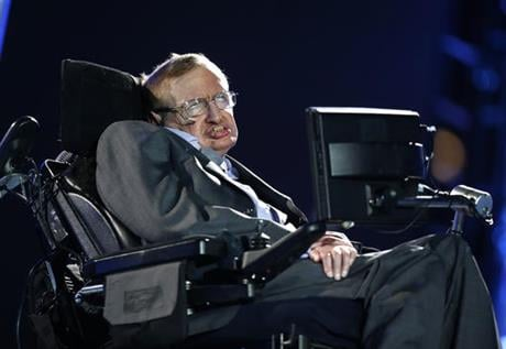 In this file photo dated Wednesday Aug. 29, 2012, British physicist, Professor Stephen Hawking speaks during the Opening Ceremony for the 2012 Paralympics in London, Wednesday Aug. 29, 2012.  AP