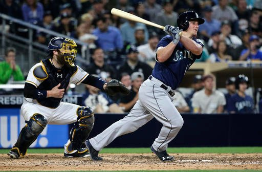 Seattle Mariners' Kyle Seager watches his two-run single against the San Diego Padres during the seventh inning of a baseball game Thursday, June 2, 2016, in San Diego.. (AP Photo/Lenny Ignelzi)