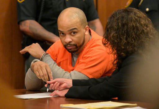 Ohio serial killer Michael Madison sits in the courtroom after a judge pronounced a death sentence in Cuyahoga County Common Pleas Court Thursday, June 2, 2016, in Cleveland.. (AP Photo/David Richard)