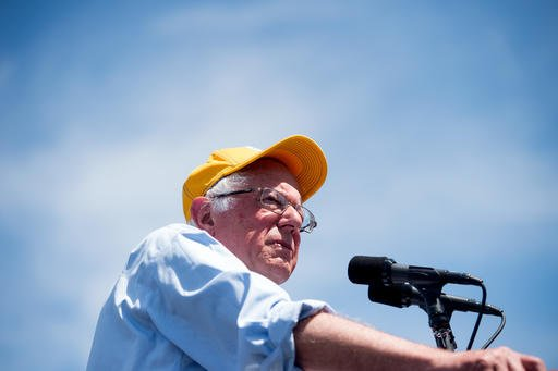 In this June 1, 2016 photo, Democratic presidential candidate Sen. Bernie Sanders, I-Vt., speaks during a campaign rally at the Cubberley Community Center in Palo Alto, Calif.