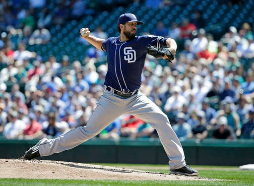 San Diego Padres starting pitcher James Shields throws against the Seattle Mariners in the first inning of a baseball game, Tuesday, May 31, 2016, in Seattle.