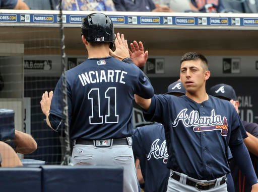 Atlanta Braves' Ender Inciarte is congratulated at the dugout after scoring against the San Diego Padres in the first inning of a baseball game Wednesday, June 8, 2016, in San Diego. (AP Photo/Lenny Ignelzi)
